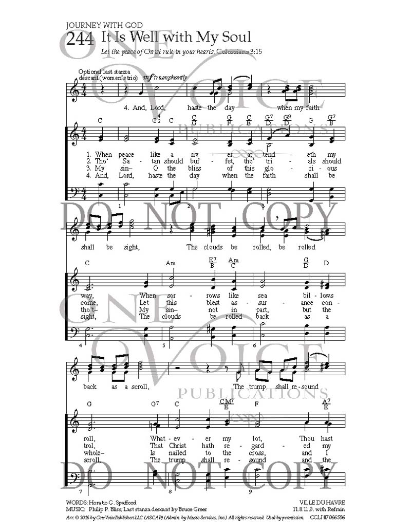 It Is Well with My Soul   Sheet Music with Guitar Chords